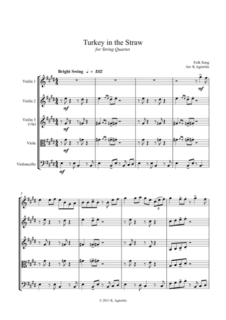 Turkey in the Straw - a Jazz Arrangement - for String Quartet