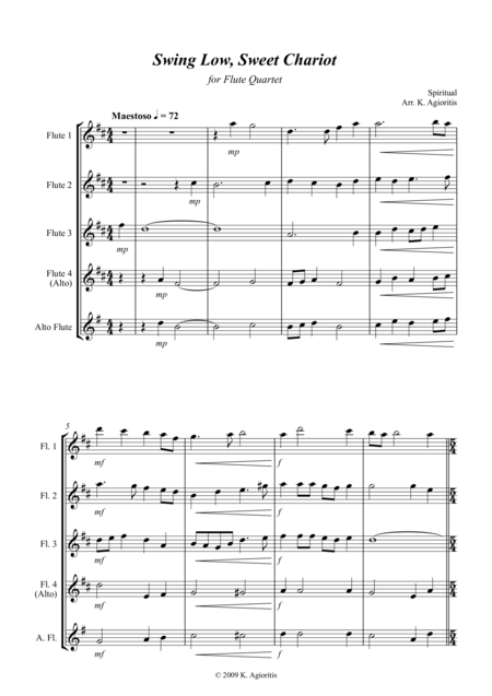 Swing Low, Sweet Chariot - a Jazz Arrangement - For Flute Quartet