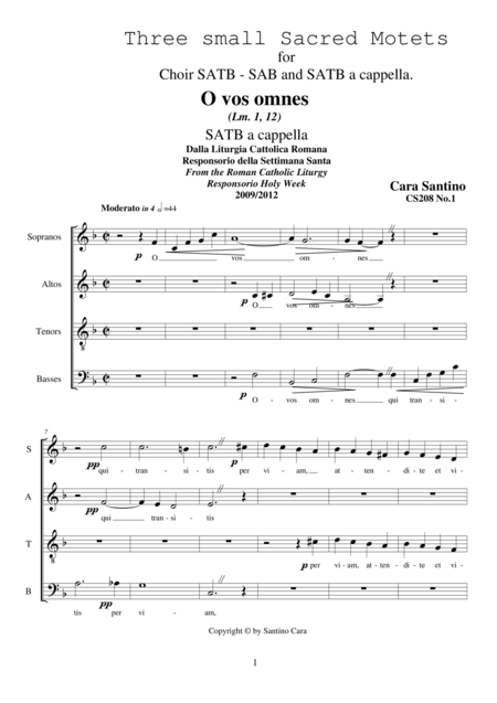 Three small Sacred motets for Choir SATB - SAB - SATB a cappella