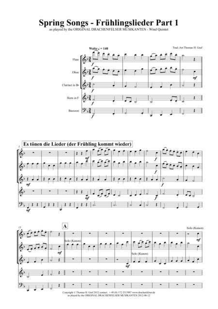 Spring Songs - Frühlingslieder - Part 1 - German Folk Songs - Wind Quintet