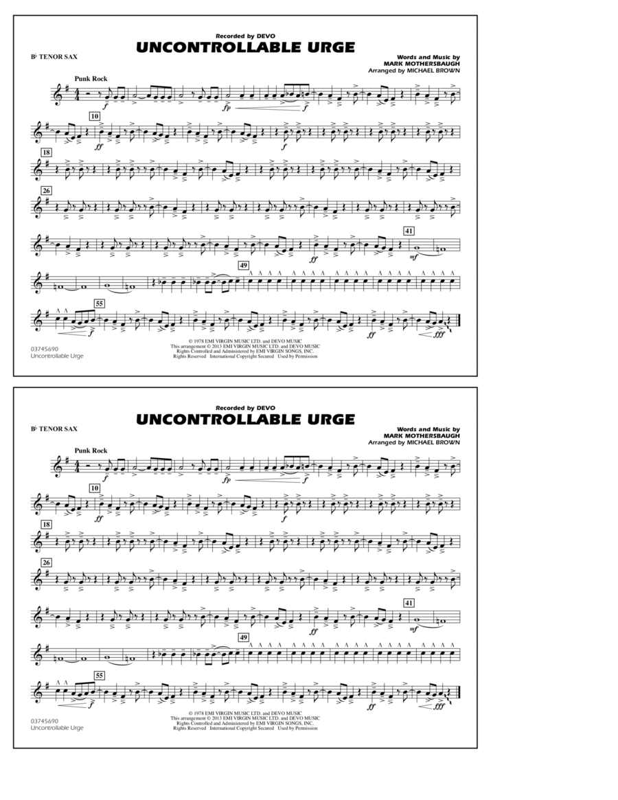 Uncontrollable Urge - Bb Tenor Sax