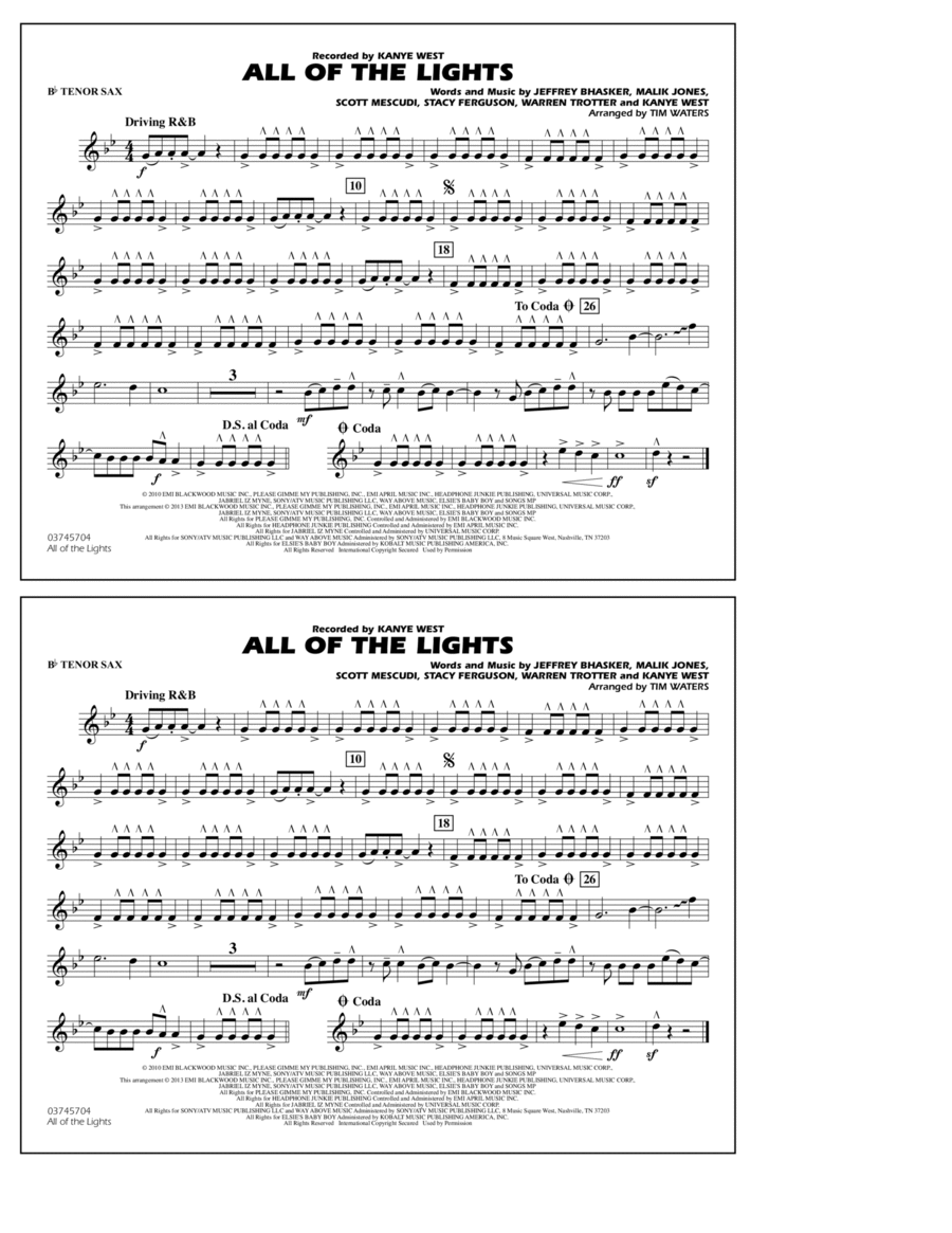 All Of The Lights - Bb Tenor Sax