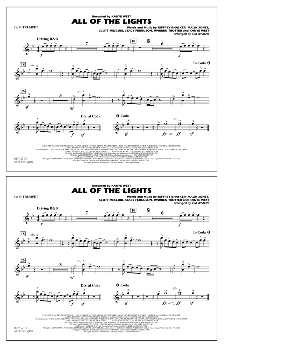 All Of The Lights - 1st Bb Trumpet