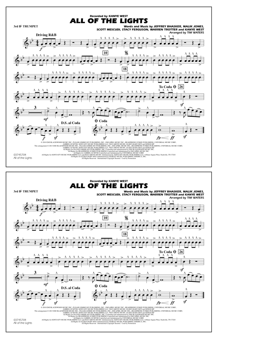 All Of The Lights - 3rd Bb Trumpet