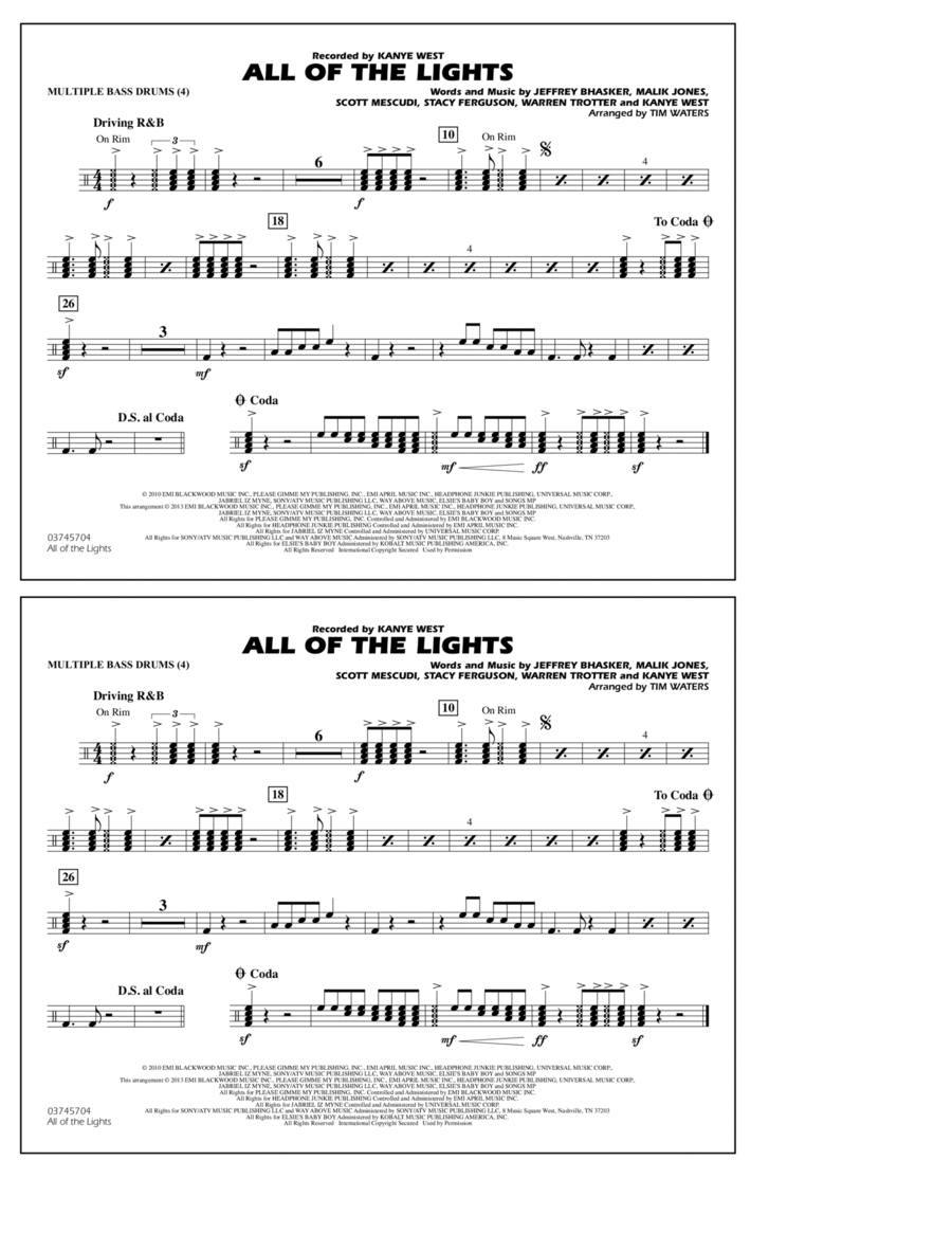 All Of The Lights - Multiple Bass Drums