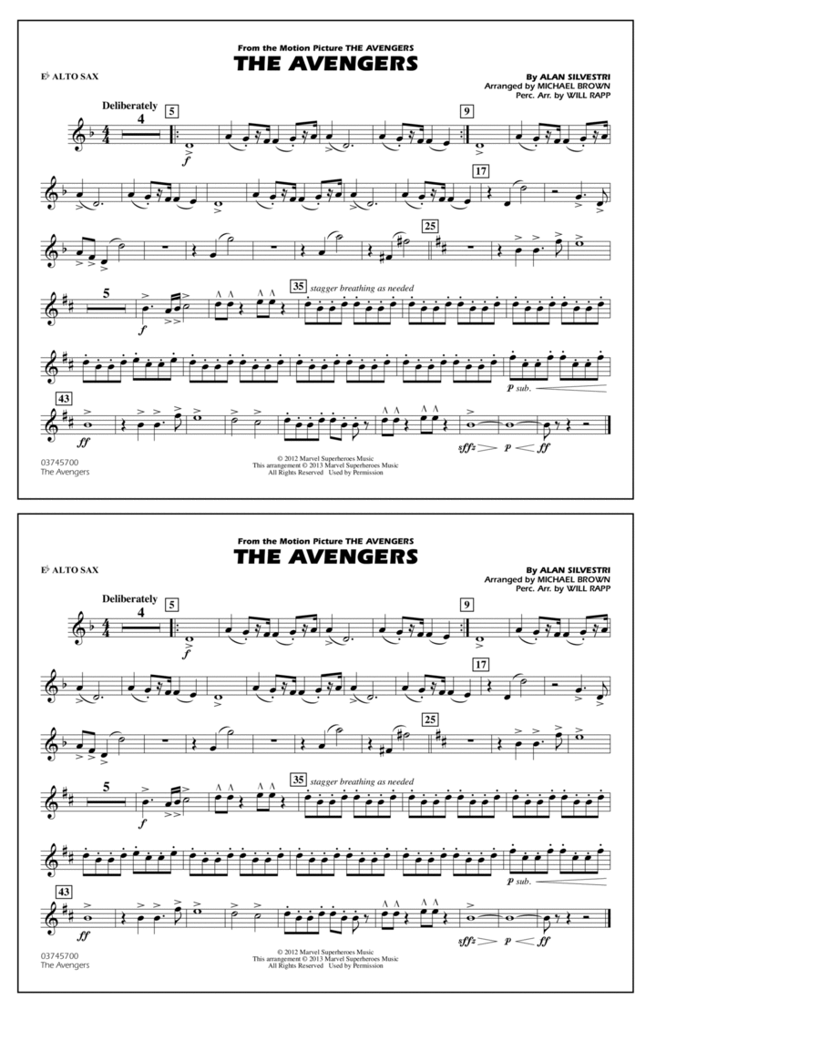 The Avengers - Eb Alto Sax