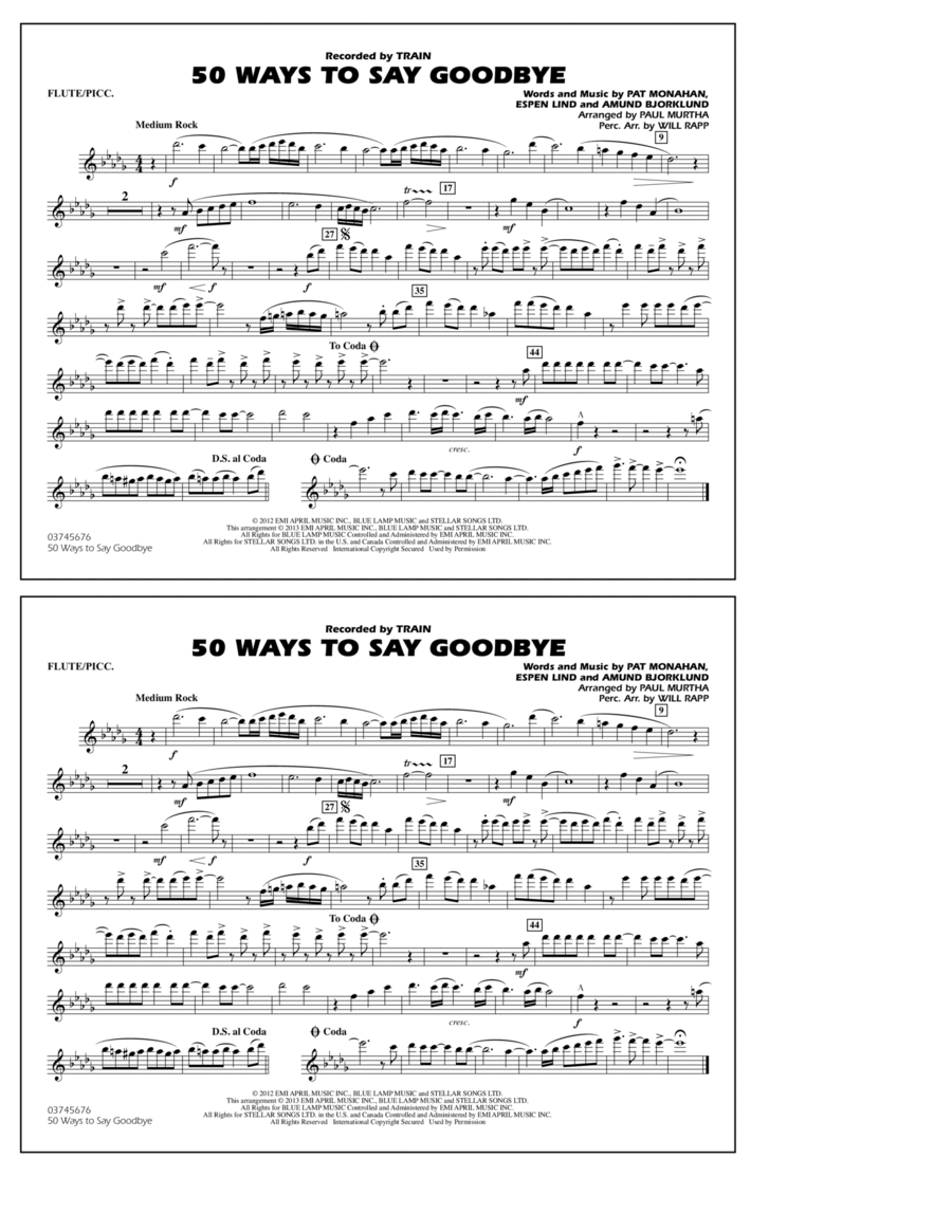 50 Ways To Say Goodbye - Flute/Piccolo