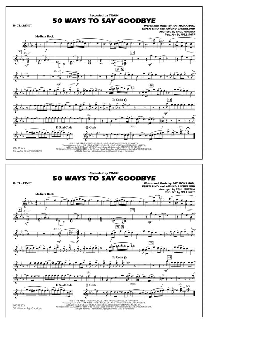 50 Ways To Say Goodbye - Bb Clarinet