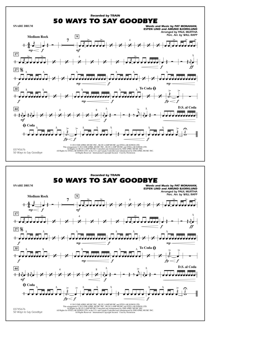 50 Ways To Say Goodbye - Snare Drum