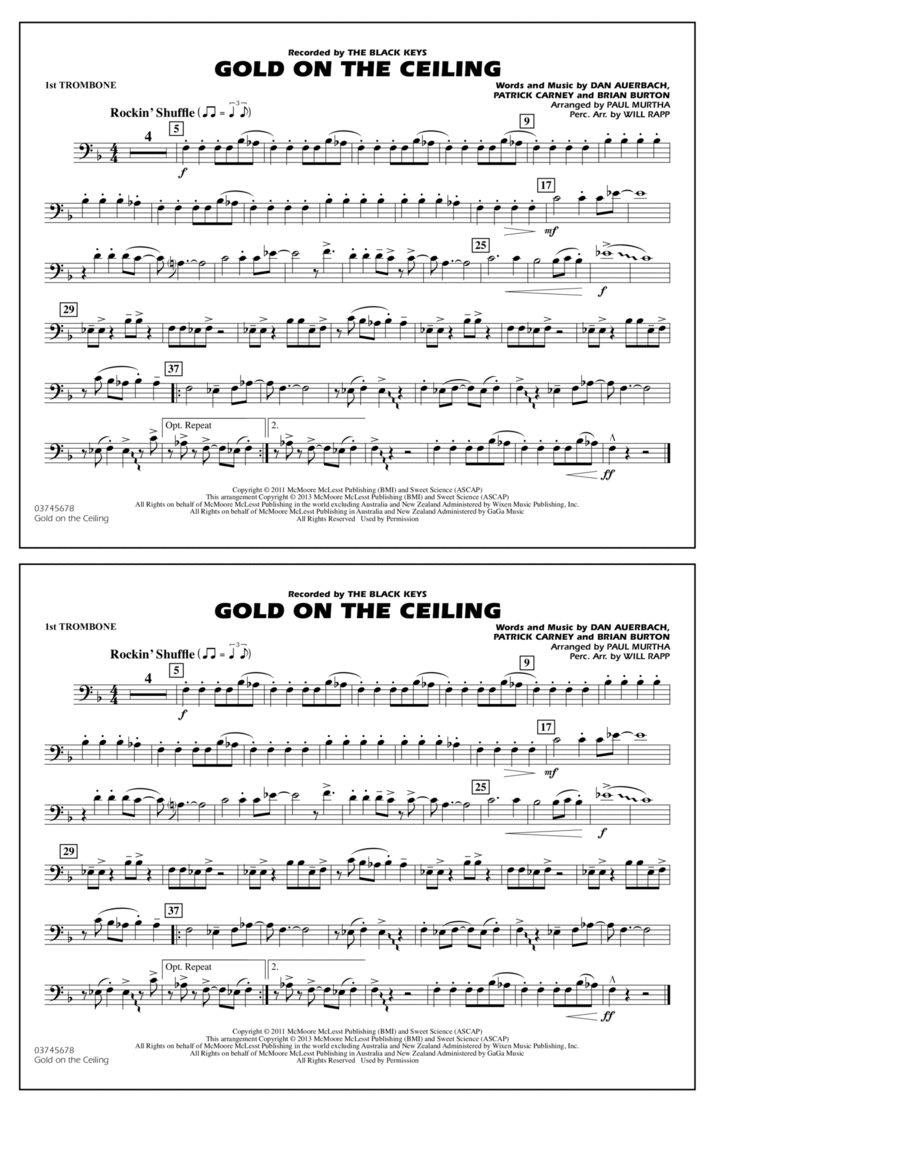 Gold On The Ceiling - 1st Trombone