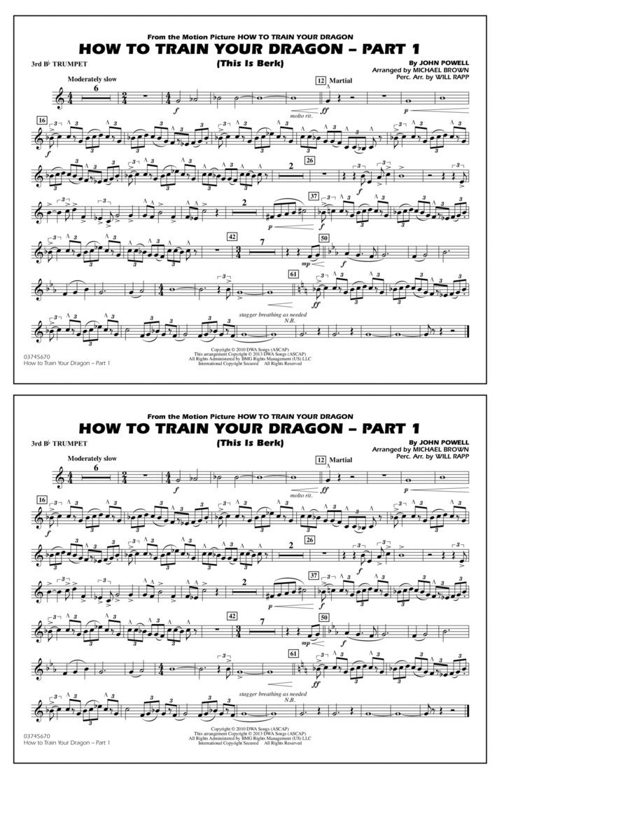 How To Train Your Dragon Part 1 - 3rd Bb Trumpet