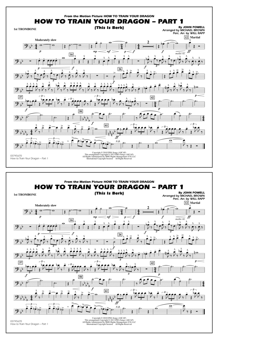 How To Train Your Dragon Part 1 - 1st Trombone