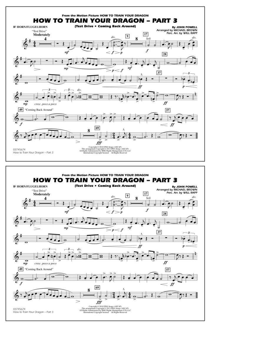 How To Train Your Dragon Part 3 - Bb Horn/Flugelhorn