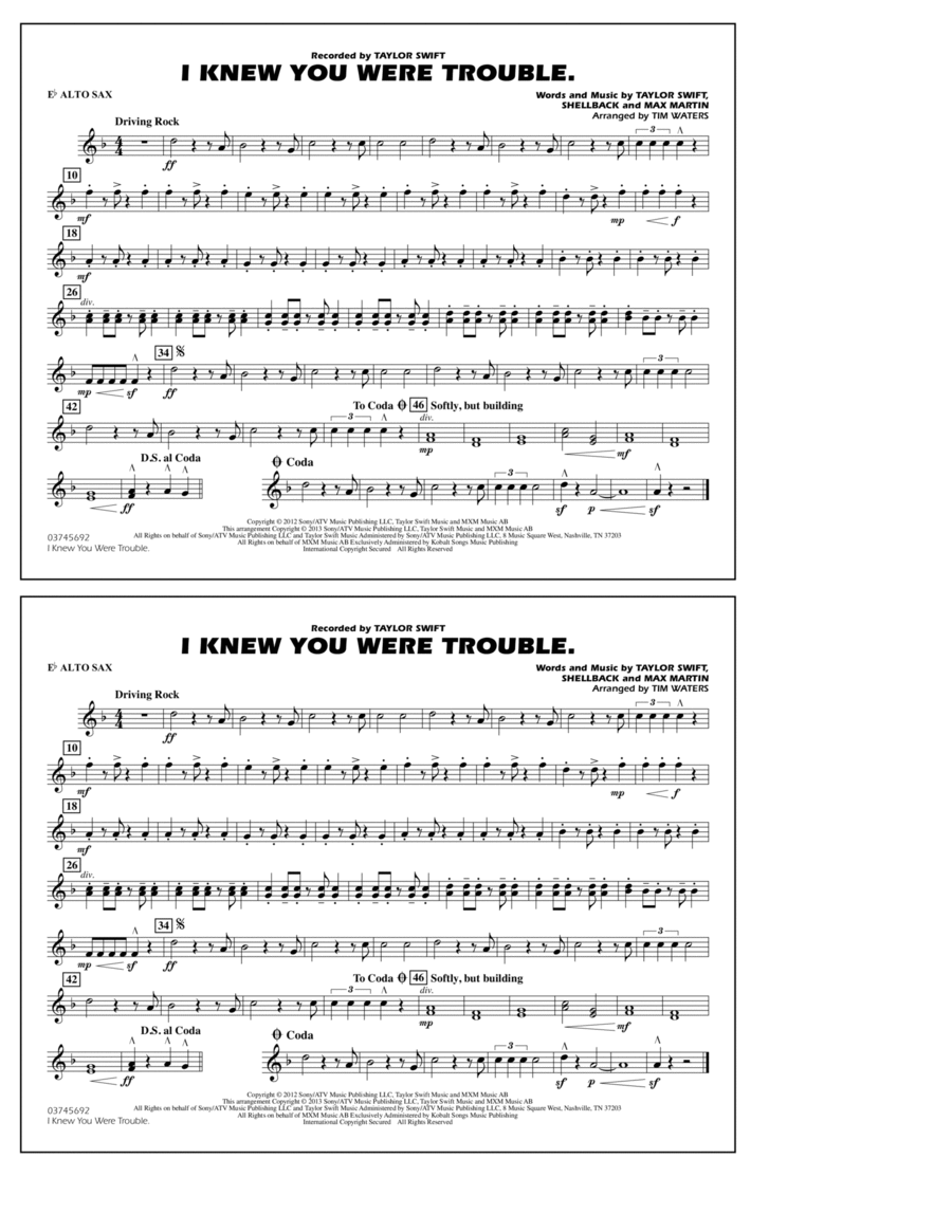 I Knew You Were Trouble - Eb Alto Sax