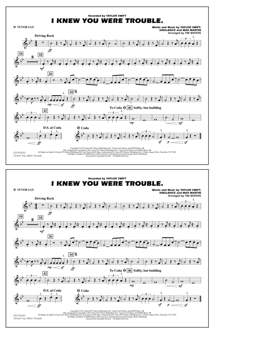 I Knew You Were Trouble - Bb Tenor Sax