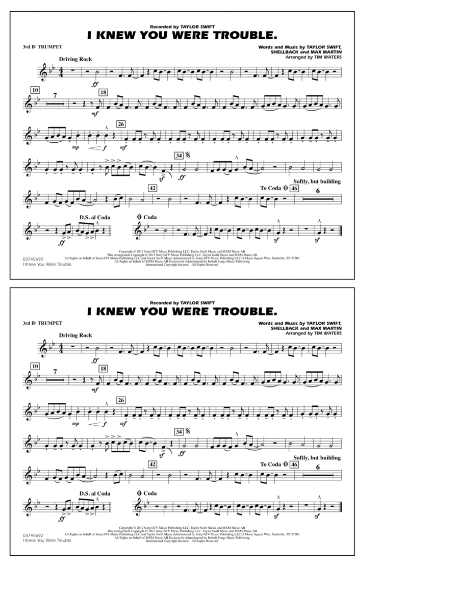 I Knew You Were Trouble - 3rd Bb Trumpet