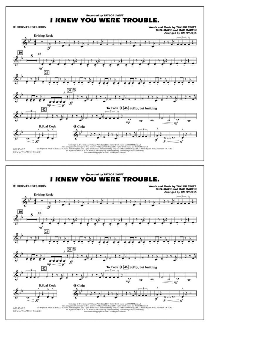 I Knew You Were Trouble - Bb Horn/Flugelhorn