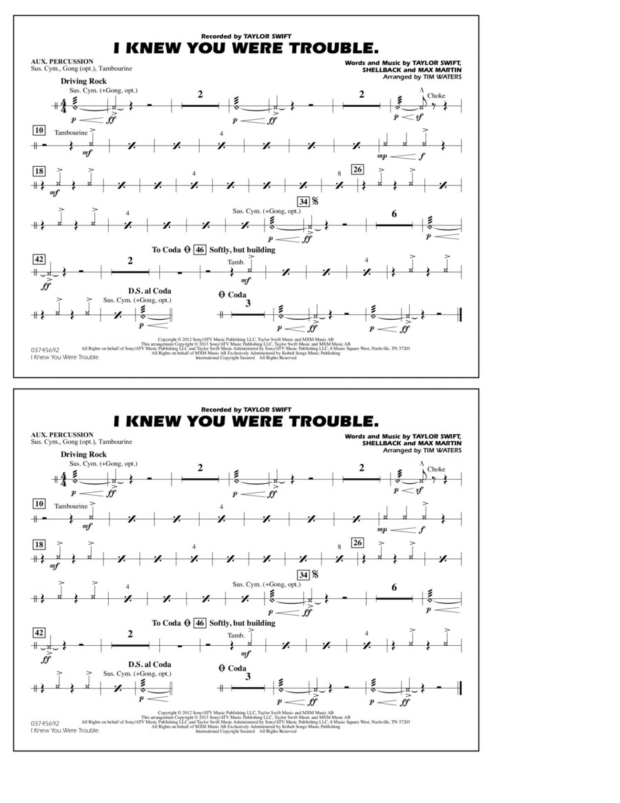 I Knew You Were Trouble - Aux Percussion