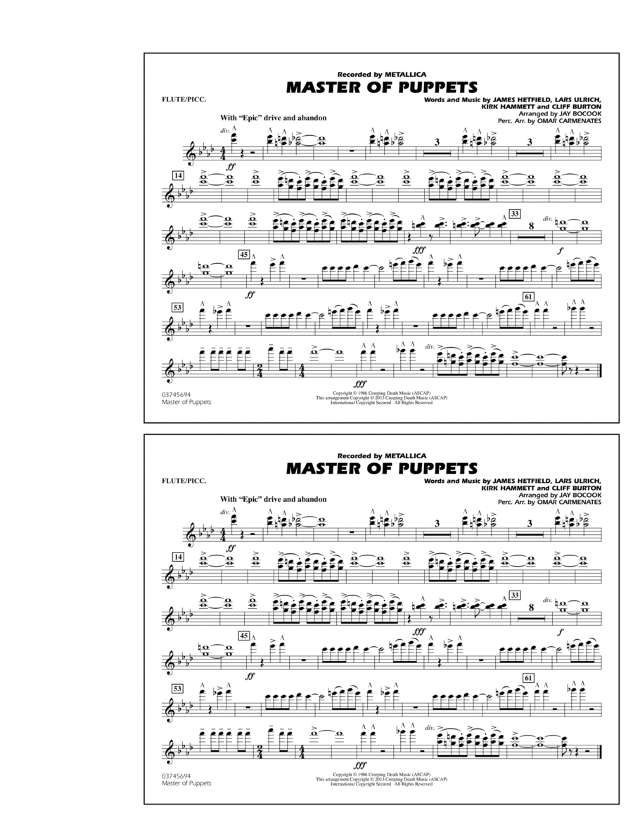 Master of Puppets - Flute/Piccolo