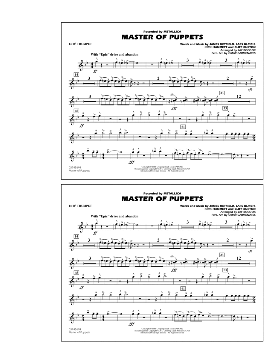 Master of Puppets - 1st Bb Trumpet