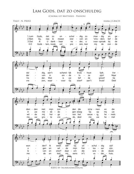 Lam Gods, Dat Zo Onschuldig - Mixed Choir And Piano Or Organ