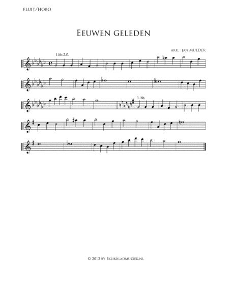 Eeuwen Geleden - Flute, Oboe (Accompaniment For Mixed Choir)