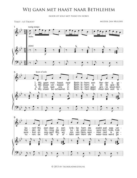 Wij Gaan Met Haast Naar Bethlehem - With Piano Oboe (Accompaniment For Choir)