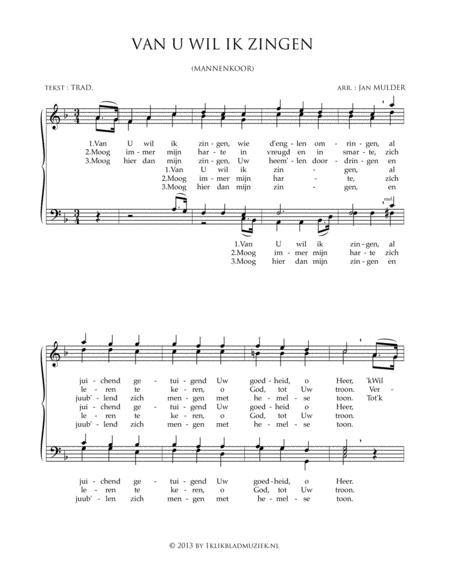 Van U Wil Ik Zingen - Men's Choir And Piano Or Organ