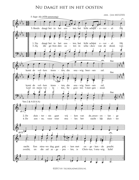 Nu Daagt Het In Het Oosten - Mixed Choir And Piano Or Organ