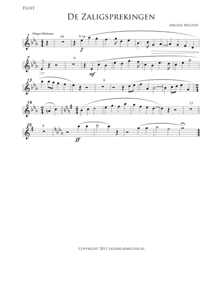 De Zaligsprekingen - Mattheus 5 - Flute (Accompaniment For Mixed Choir)