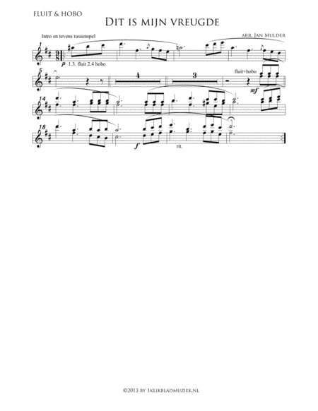 Dit Is Mijn Vreugde - Intro Flute Oboe (Accompaniment For Mixed Choir)