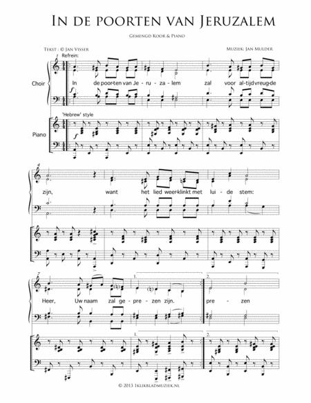In De Poorten Van Jeruzalem - Mixed Choir  Mixed Choir And Piano Or Organ