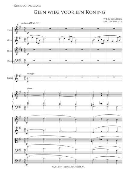 Geen Wieg Voor Een Koning - Horn, Bassoon, Guitar, Piano (Accompaniment For Mixed Choir)