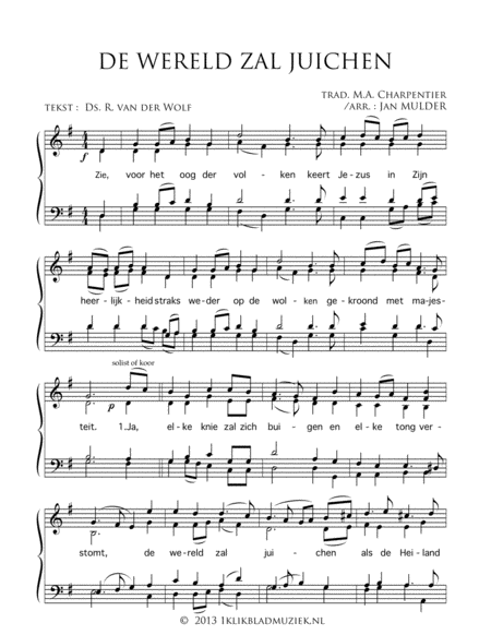 De Wereld Zal Juichen - Mixed Choir And Piano Or Organ