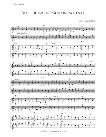 Dit Is De Dag, Die God Ons Schenkt - Flute, Oboe (Accompaniment For Mixed Choir)