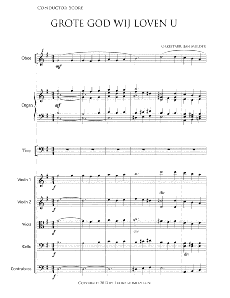 Grote God, Wij Loven U - Piano/Organ, Oboe, String Ensemble (Accompaniment For Mixed Choir)