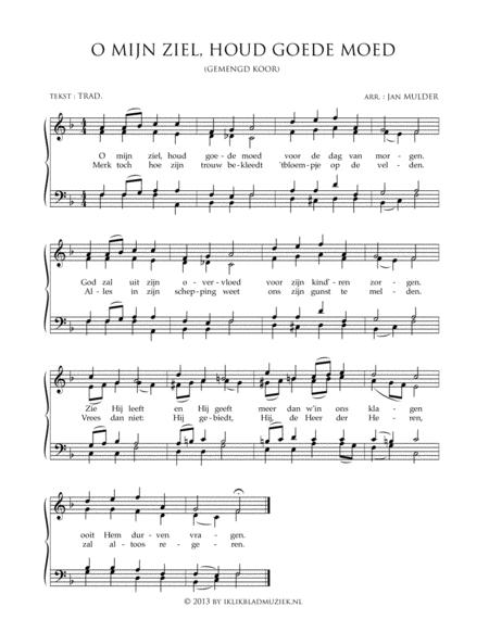 O Mijn Ziel, Houdt Goede Moed - Mixed Choir And Piano Or Organ