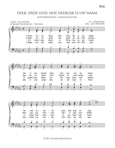 Heer, Onze God, Hoe Heerlijk Is Uw Naam - Mixed Choir And Piano Or Organ