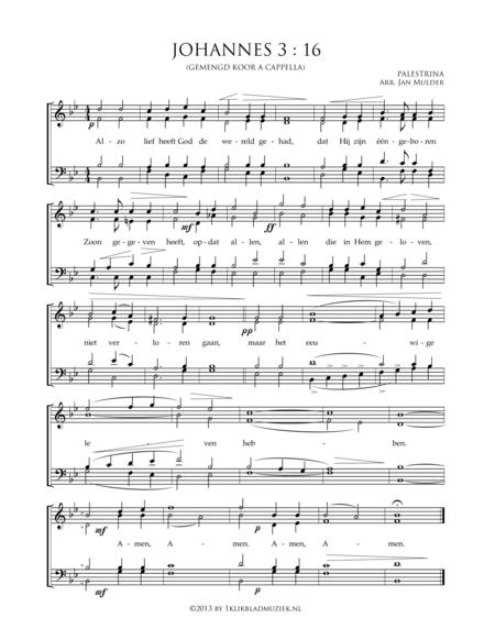 Alzo Lief Heeft God De Wereld Gehad - Johannes 3 :16 - Palestrina - Mixed Choir