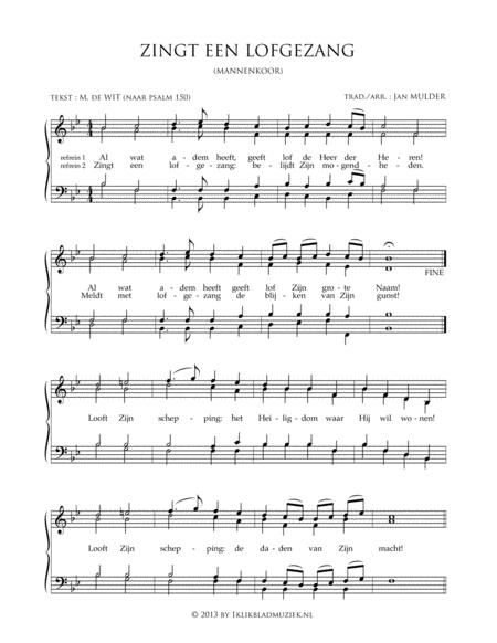 Zingt Een Lofgezang - Men's Choir