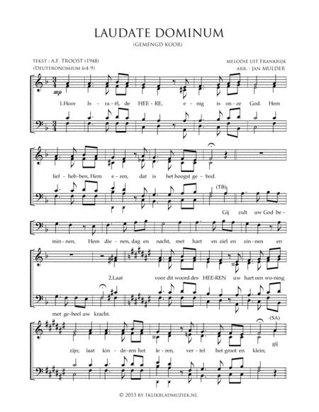 Laudate Dominum - Hoor Israel De Heere Is Een - Mixed Choir
