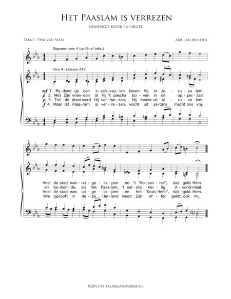 Het Paaslam Is Verrezen - Mixed Choir And Piano Or Organ