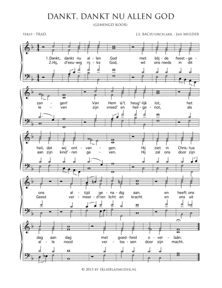 Dankt, Dankt Nu Allen God - Mixed Choir And Piano Or Organ
