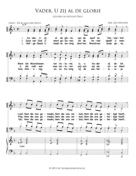 Vader U Zij Alle Glorie ( Met Bovenstem) - Mixed Choir And Piano Or Organ