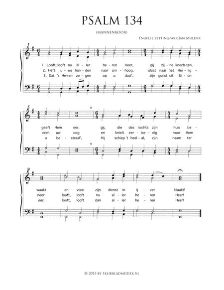 Psalm 134 - Men's Choir And Piano Or Organ