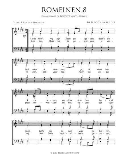 Romeinen 8 (Based On The Toccata From Th. Dubois) - Mixed Choir