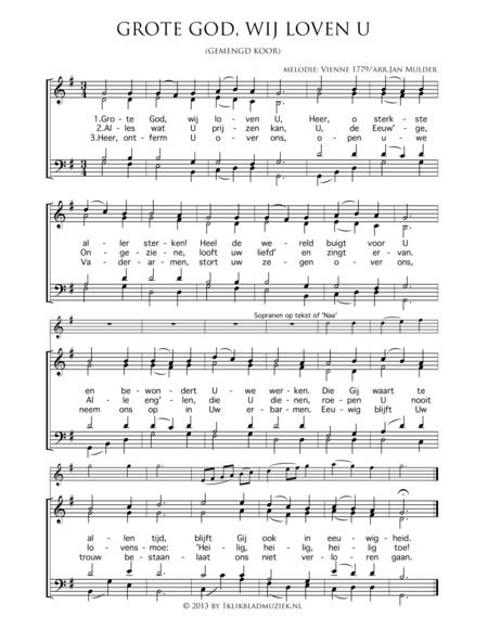 Grote God, Wij Loven U - Mixed Choir