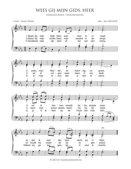 Wees Gij Mijn Gids, Heer - Mixed Choir And Piano Or Organ