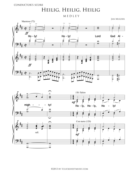 Heilig, Heilig, Heilig - Medley - Small Orchestra - Flute, Oboe, Trumpet, Violins, Percussion, Piano Or Organ (Accompaniment For Mixed Choir)