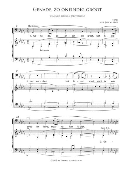 Genade, Zo Oneindig Groot- Mixed Choir And Soloist Plus Piano Or Organ